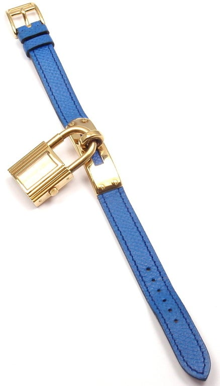 Hermes Kelly Blue Leather Gold Hardware Ladies Watch 5