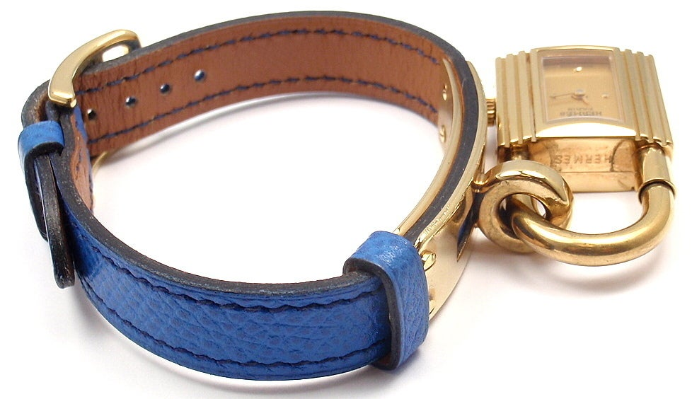 Hermes Kelly Blue Leather Gold Hardware Ladies Watch For Sale 2
