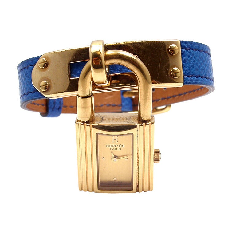 hermes wallet men - Hermes Kelly Blue Leather Gold Hardware Ladies Watch For Sale at ...