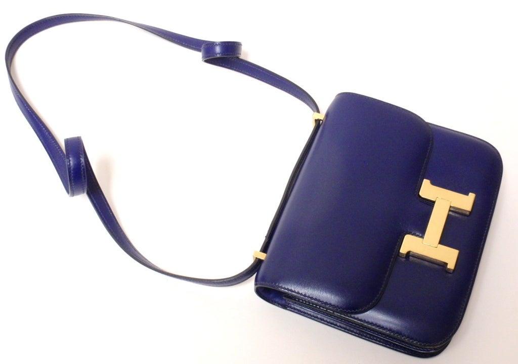 HERMES Constance Blue Electric Box Leather Shoulder Handbag at 1stdibs
