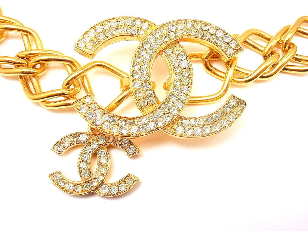 Chanel Vintage French Couture Gold Tone Crystal Logo