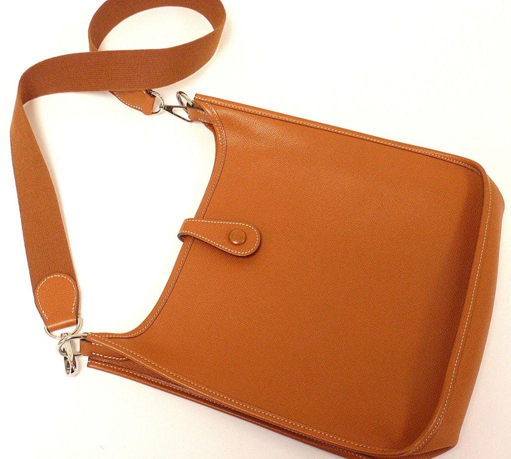 HERMES Evelyne PM Brown Epsom Leather SHW Shoulder Bag at 1stdibs