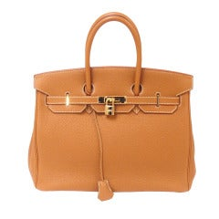 Hermes 35cm Caramel Togo Birkin Handbag, Year 2002