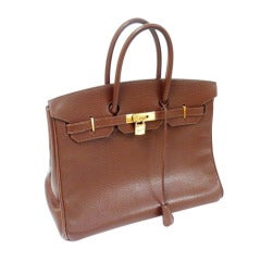 Hermes 35cm Brown Ardennes Birkin Handbag, Year 2002