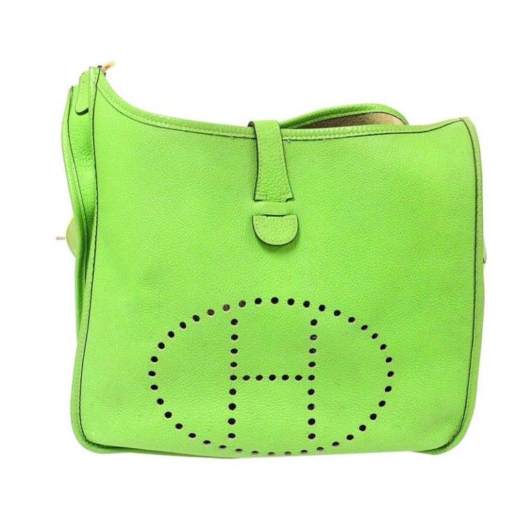 HERMES Evelyne GM Candy Apple Green Togo Leather GHW Shoulder Bag, 2003