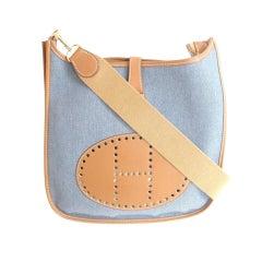HERMES Evelyne Blue Toile/Gold Swift Leather Shoulder Tote Bag