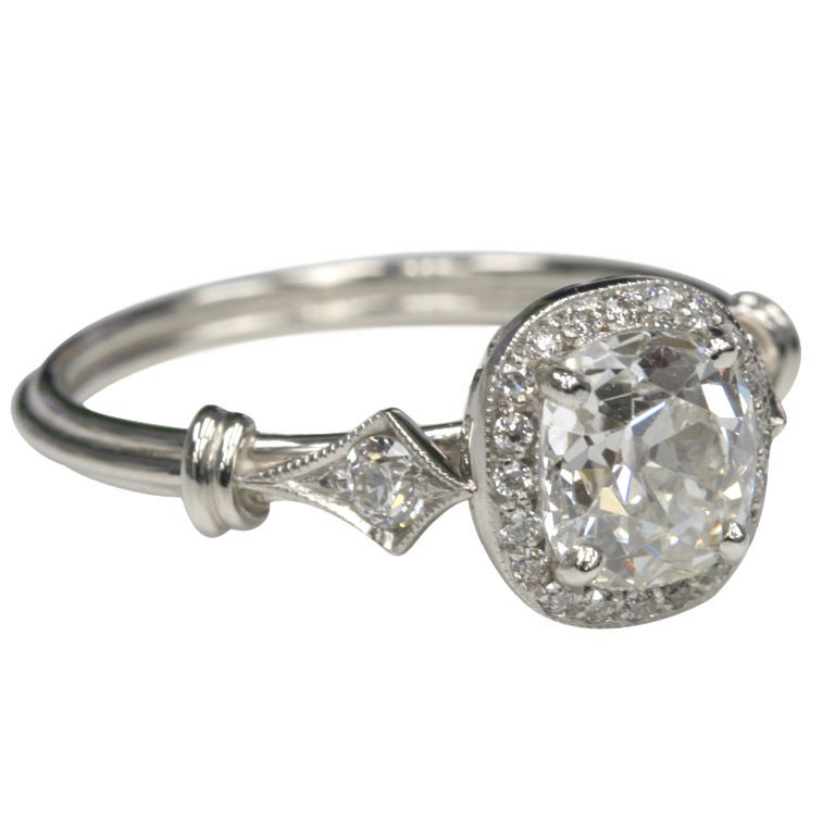 Cushion Cut Diamond Cushion Cut Diamond Engagement Ring In Antique Setting