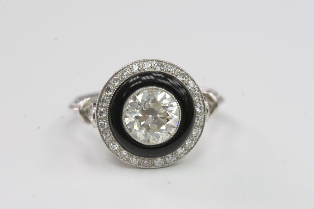 european cut and onyx engagement ring at 1stdibs