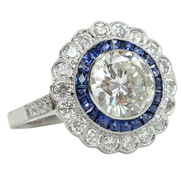 Sapphire and Diamond Engagement Ring 1