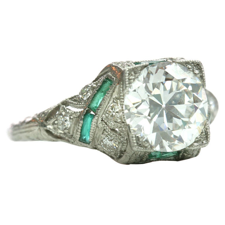 Emerald Accented Diamond Ring at 1stdibs