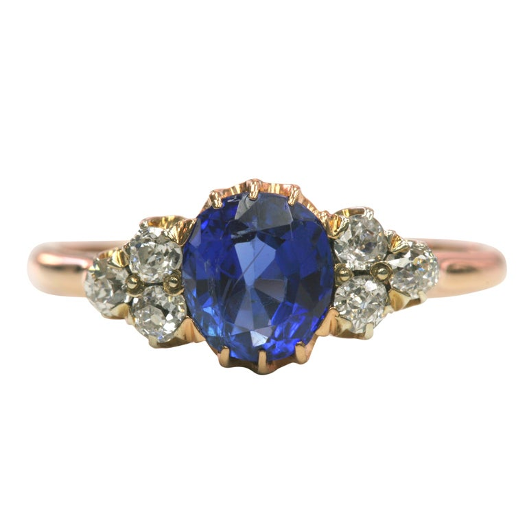 antique blue sapphire ring at 1stdibs