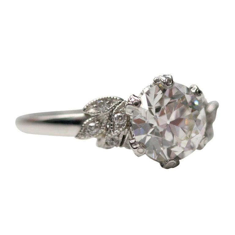 Art Deco Inspired Diamond Leaf Ring at 1stdibs