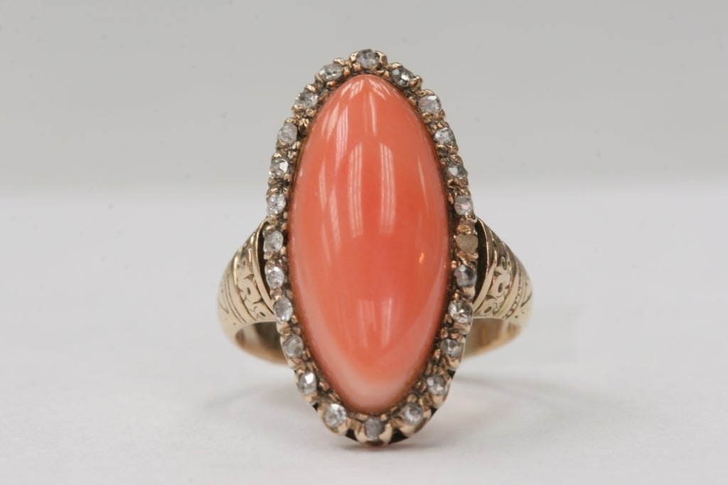 Coral and Diamond Ring image 3