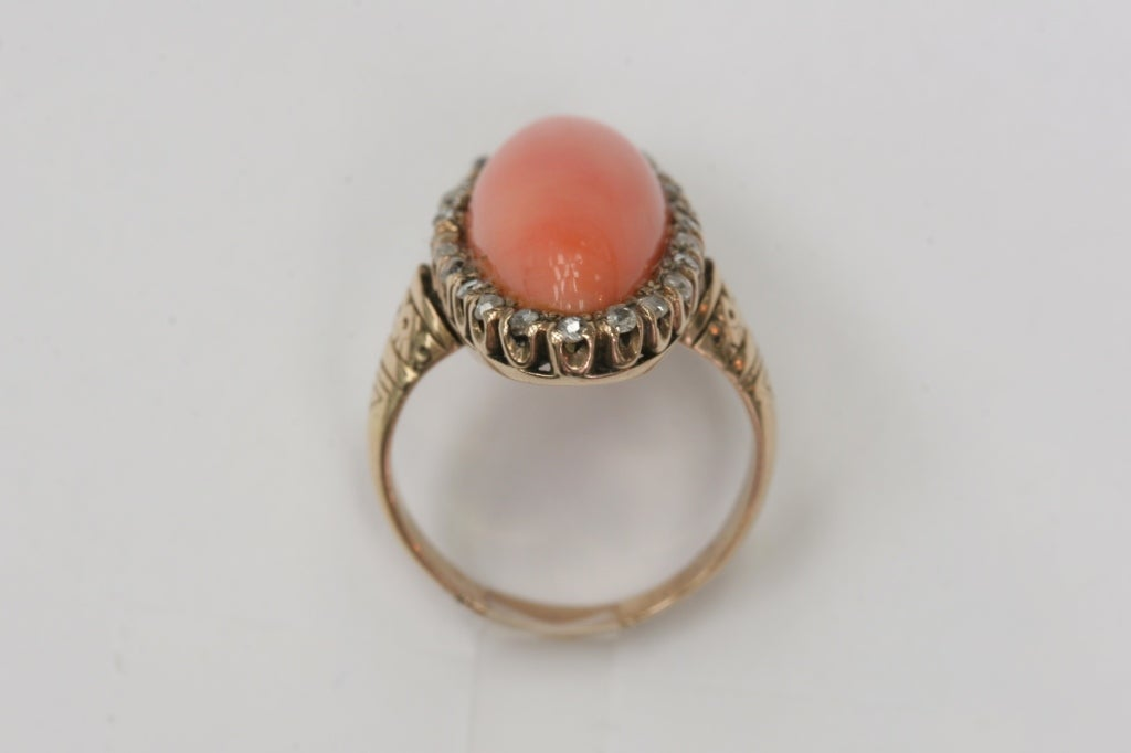 Coral and Diamond Ring image 4