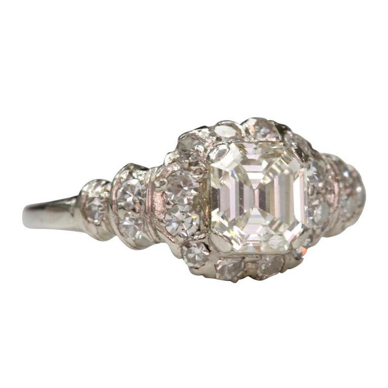 Asscher Cut Diamond Engagement Ring at 1stdibs