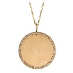 Gold Disc with Pave Frame