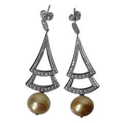 Diamond and South Sea Pearl Earrings