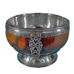 Large English Silver Maple Mazar Bowl