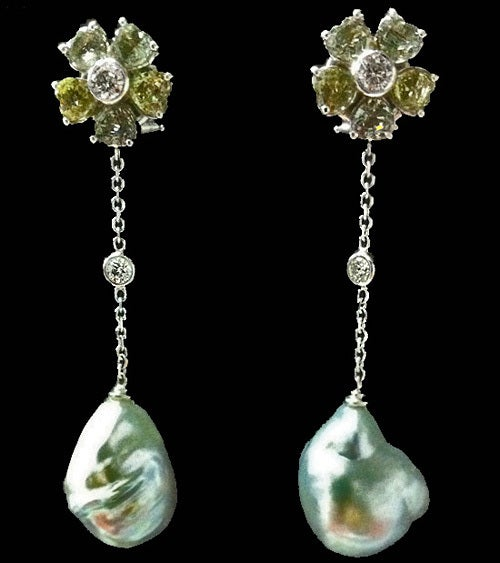 Women's Baroque Pearl Diamond Green Sapphire Earrings For Sale