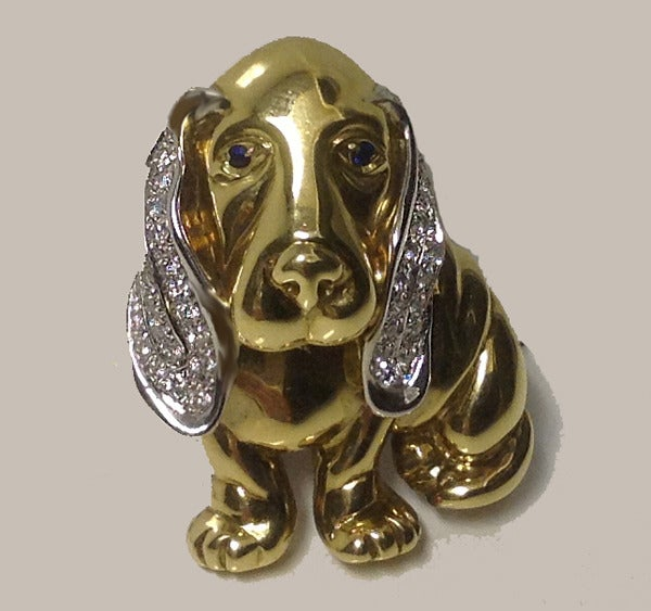 Diamond Gold Basset Hound Brooch Milano Piero At 1stdibs
