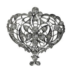 Belle Epoque Diamond Platinum Drop Brooch, circa 1900