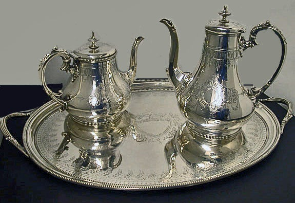 Antique English Silver Tea And Coffee Service And Tray