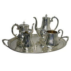 Antique English Silver Tea & Coffee Service & Tray 141ozs
