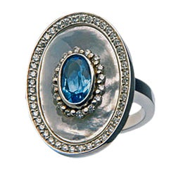 Mother-of-Pearl Topaz Diamond Ring