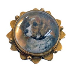 Reverse Intaglio Crystal Essex Crystal Dog Brooch Locket, circa 1880