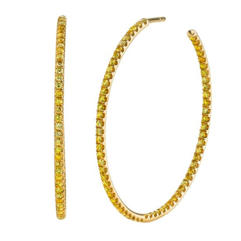Tamir Natural Fancy Intense Yellow Diamond Hoop Earrings 1