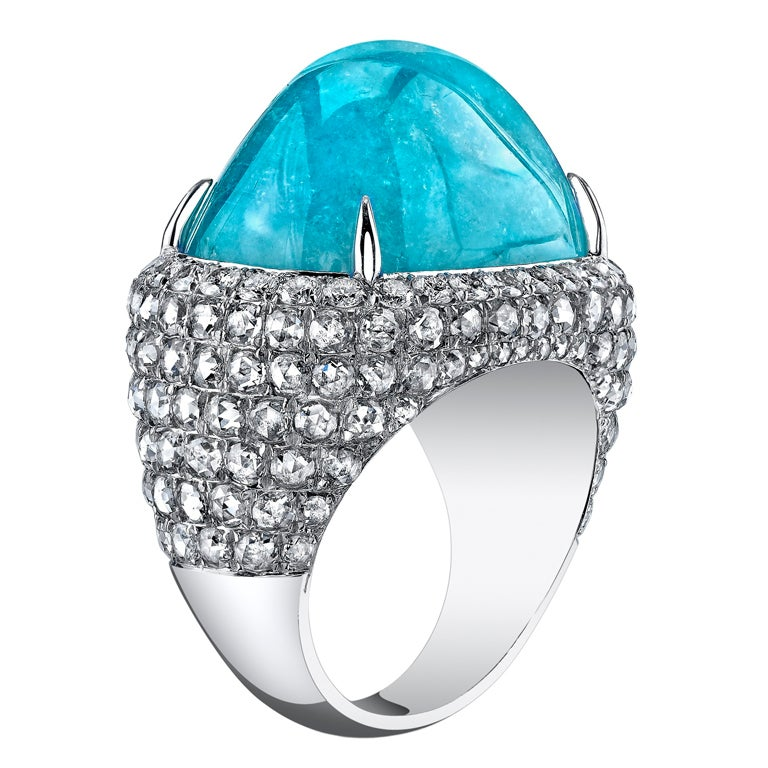TAMIR Incredible Paraiba Tourmaline and Diamond Ring. For Sale