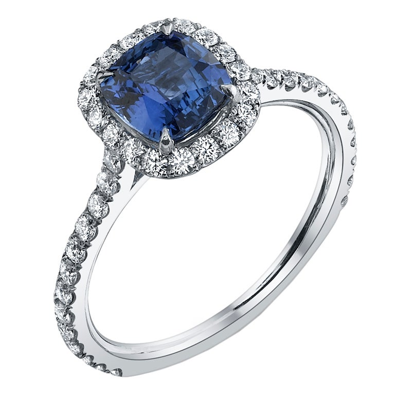 TAMIR Royal Blue Sapphire and Diamond Ring. at 1stdibs