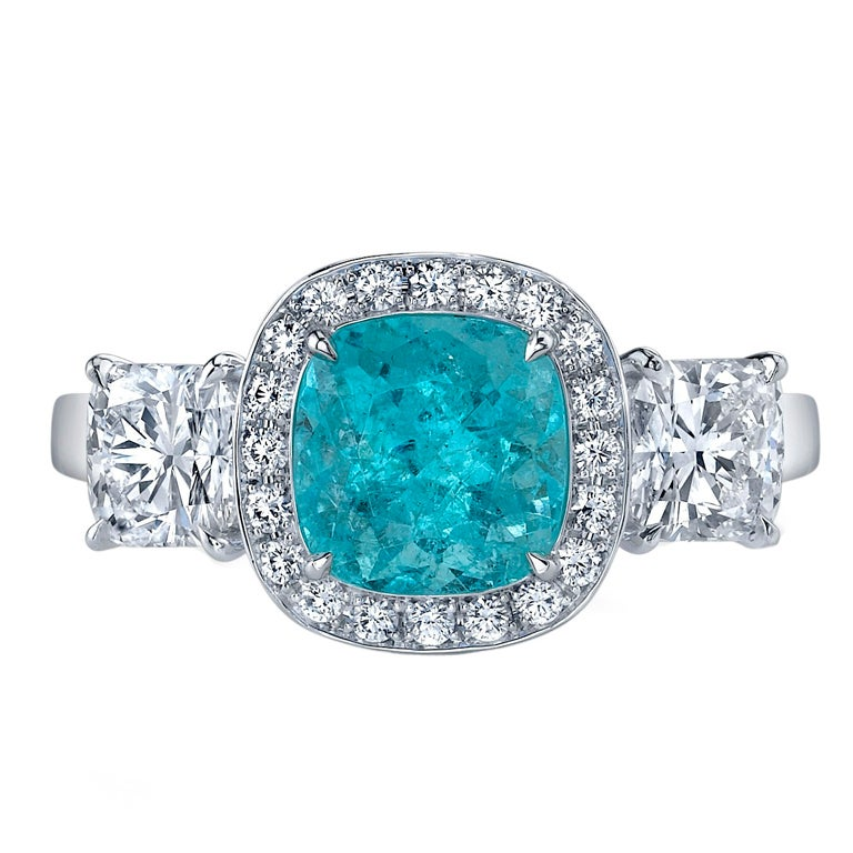 Tamir Timeless and Rare Paraiba Tourmaline and Diamond Ring. 1