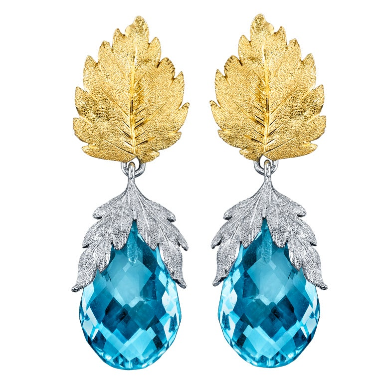 "Traditional ""Florentine"" Style Blue Topaz Earrings. 1"
