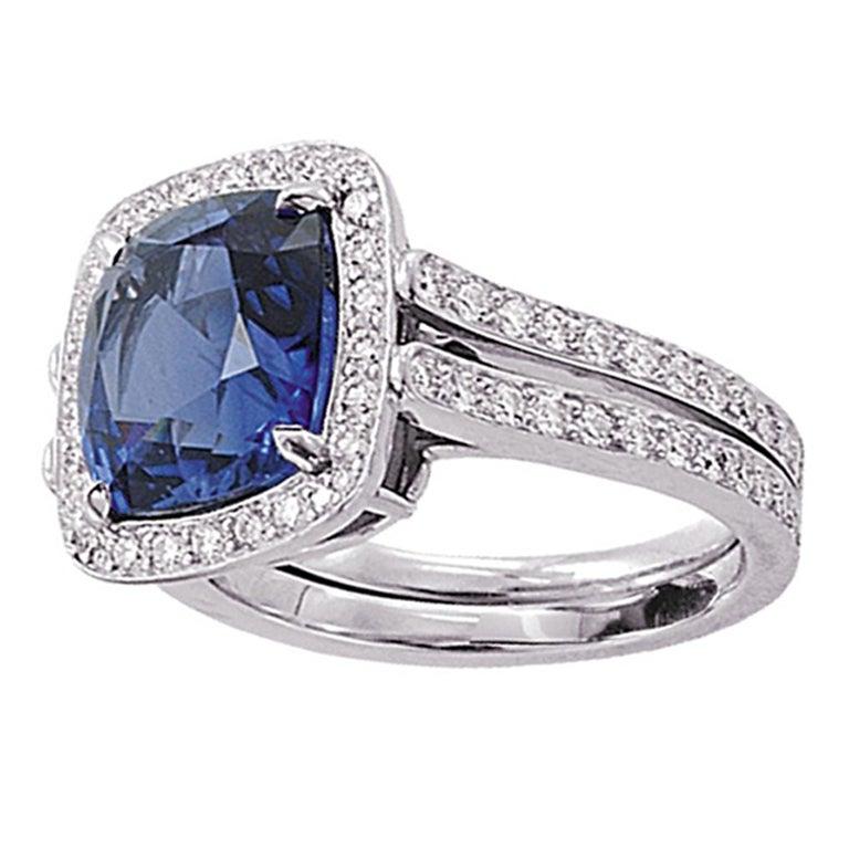 TAMIR Royal Blue Sapphire and Diamond Ring. at 1stdibs