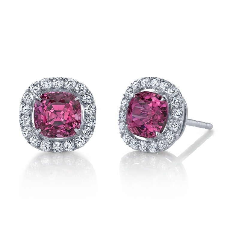 TAMIR Intense Pink Spinels and Diamond Earrings. 2