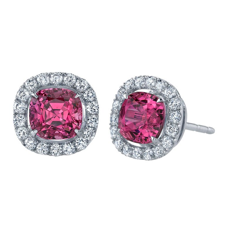TAMIR Intense Pink Spinels and Diamond Earrings. 1