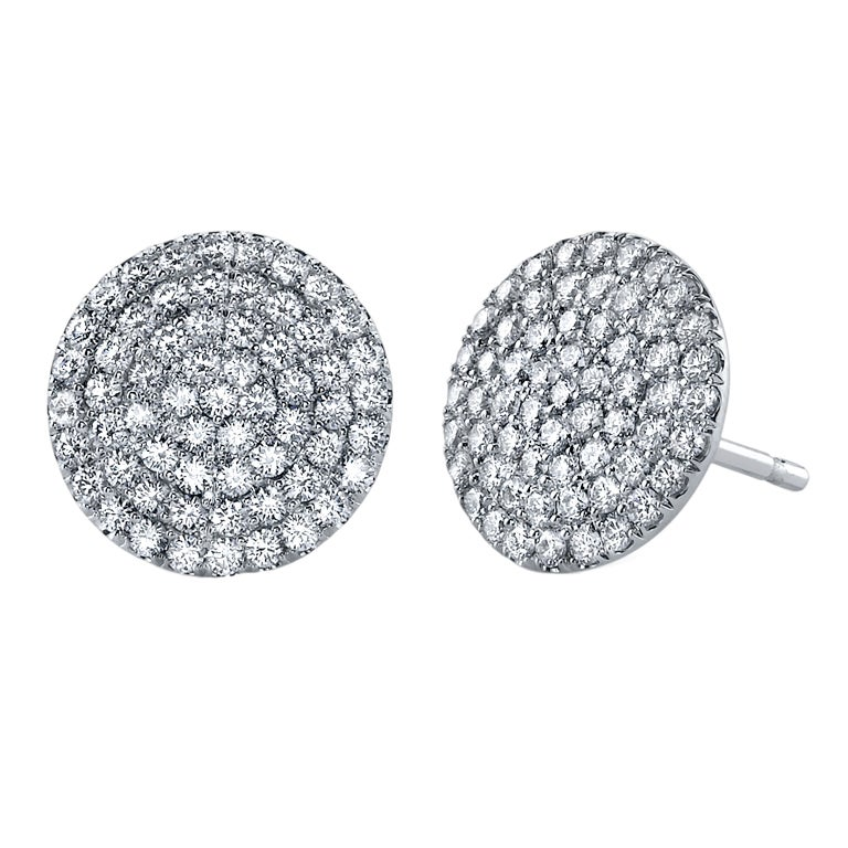 Tamir Exquisite Micro Pave Diamond Disc Earrings For