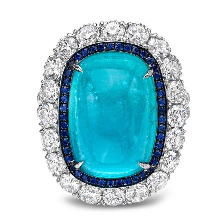 TAMIR Ultra Rare Paraiba Tourmaline, Sapphire and Diamond Ring. 2