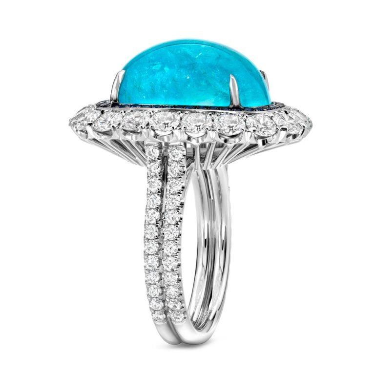 TAMIR Ultra Rare Paraiba Tourmaline, Sapphire and Diamond Ring. 3