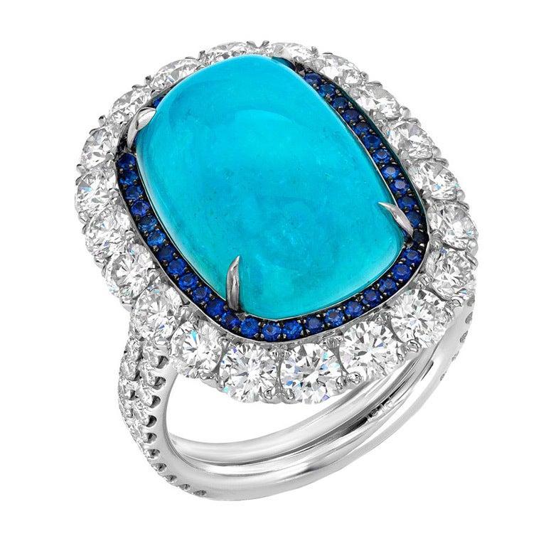 TAMIR Ultra Rare Paraiba Tourmaline, Sapphire and Diamond Ring. 1