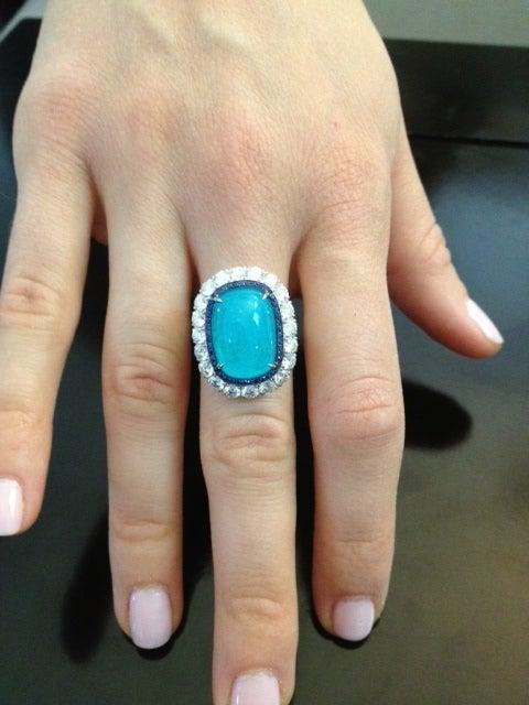 TAMIR Ultra Rare Paraiba Tourmaline, Sapphire and Diamond Ring. 5