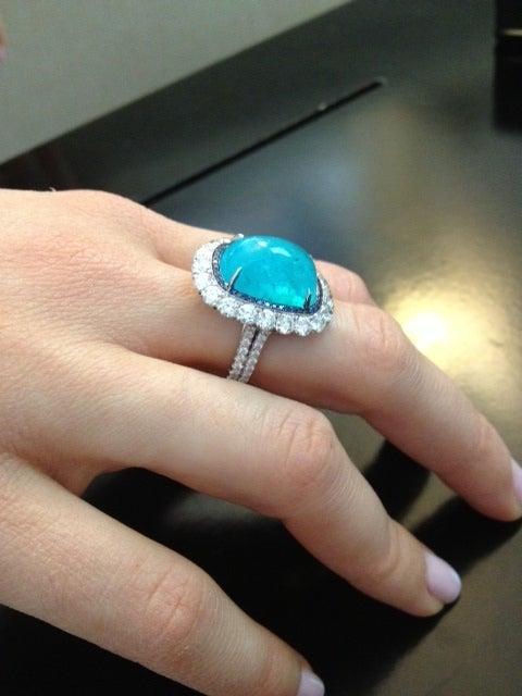 TAMIR Ultra Rare Paraiba Tourmaline, Sapphire and Diamond Ring. 6