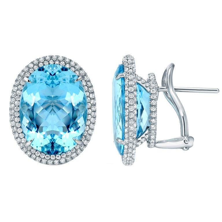 Tamir 15.18 Carat Aquamarine Diamond Platinum Earrings 1