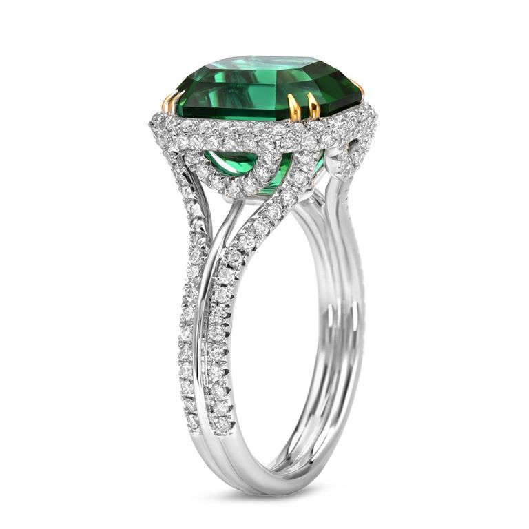 TAMIR Highly Prized Vivid Green Tourmaline and Diamond Gold Ring 2