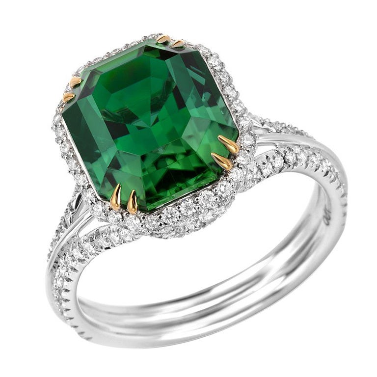 TAMIR Highly Prized Vivid Green Tourmaline and Diamond Gold Ring
