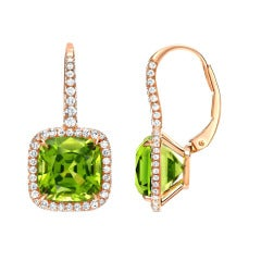 Tamir 9.46 Carat Fine Peridot Diamond Rose Gold Earrings