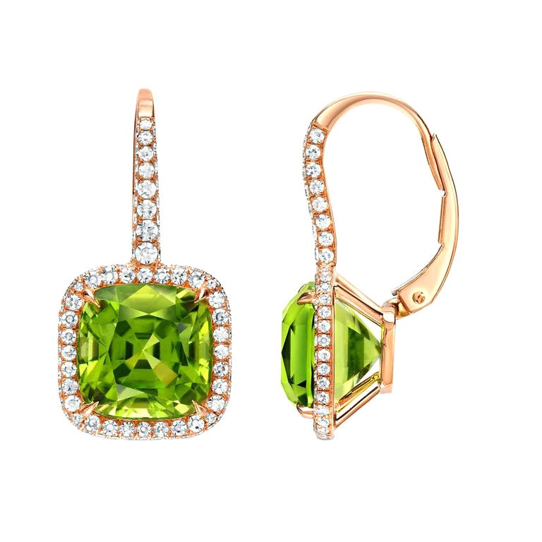 Tamir 9.46 Carat Peridot Diamond Rose Gold Lever Back Earrings