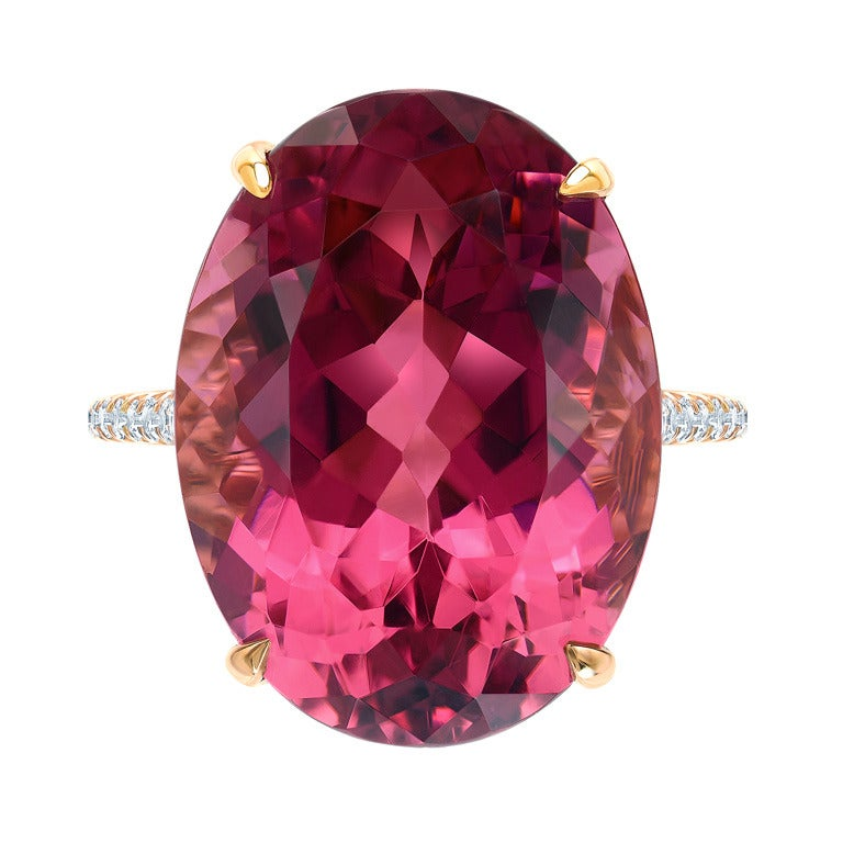 Marvelous Raspberry Tourmaline and Diamond Ring. 1