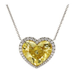 A Magnificent 17 Carat Natural Fancy Light Yellow Heart Shape Diamond Necklace